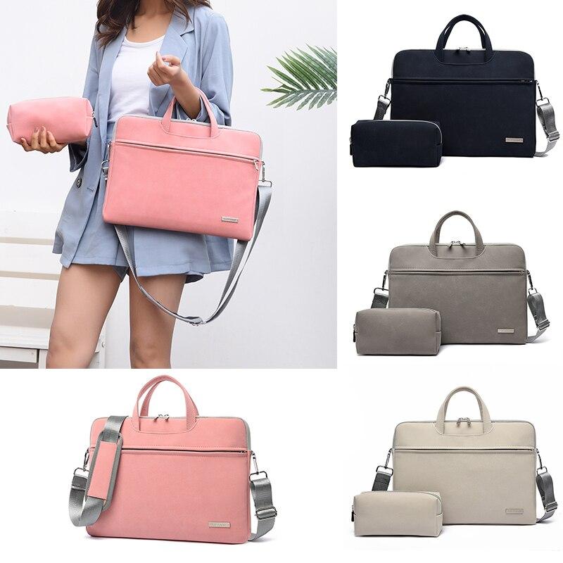 DIHOPE PU Leather Women Laptop Bags Notebook Carrying Case Briefcas Air 13.3 14 15.6 Inch Men Handbags Shoulder Mouse Bag