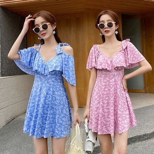 Fashion Slimming One-Piece Swimming Suit For Girls Super Thin Small Floral Sweet Swimsuit Sunscreen Sexy V-neck Swimming Dress