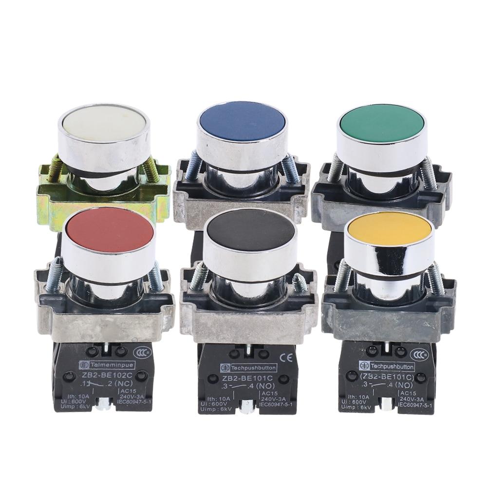 22mm self reset push button switch xb2 ba35c zb2 ba45c flat momentary electric screws red yellow green 1no 1nc 1Pcs 22mm XB2-BA11 21 31 42 51 Flush Pushbuttons Momentary Push Button Switch 600V 10A