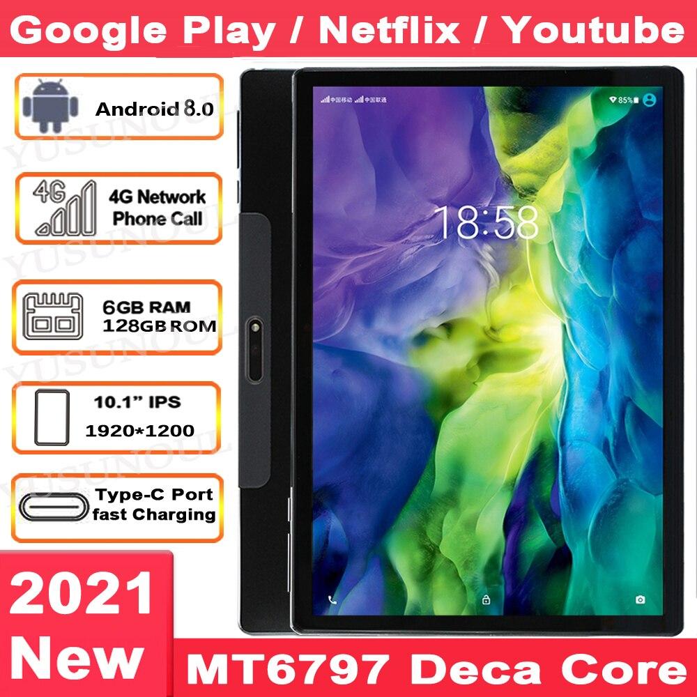 جهاز لوحي 10 بوصة PUBG Game/Netflix/Google Play ، MT6797 Deca Core ، 1920x1200 ، 2.5K ، شاشة IPS ، 4G LTE ، 6GB RAM ، 128GB ROM ، 10.1