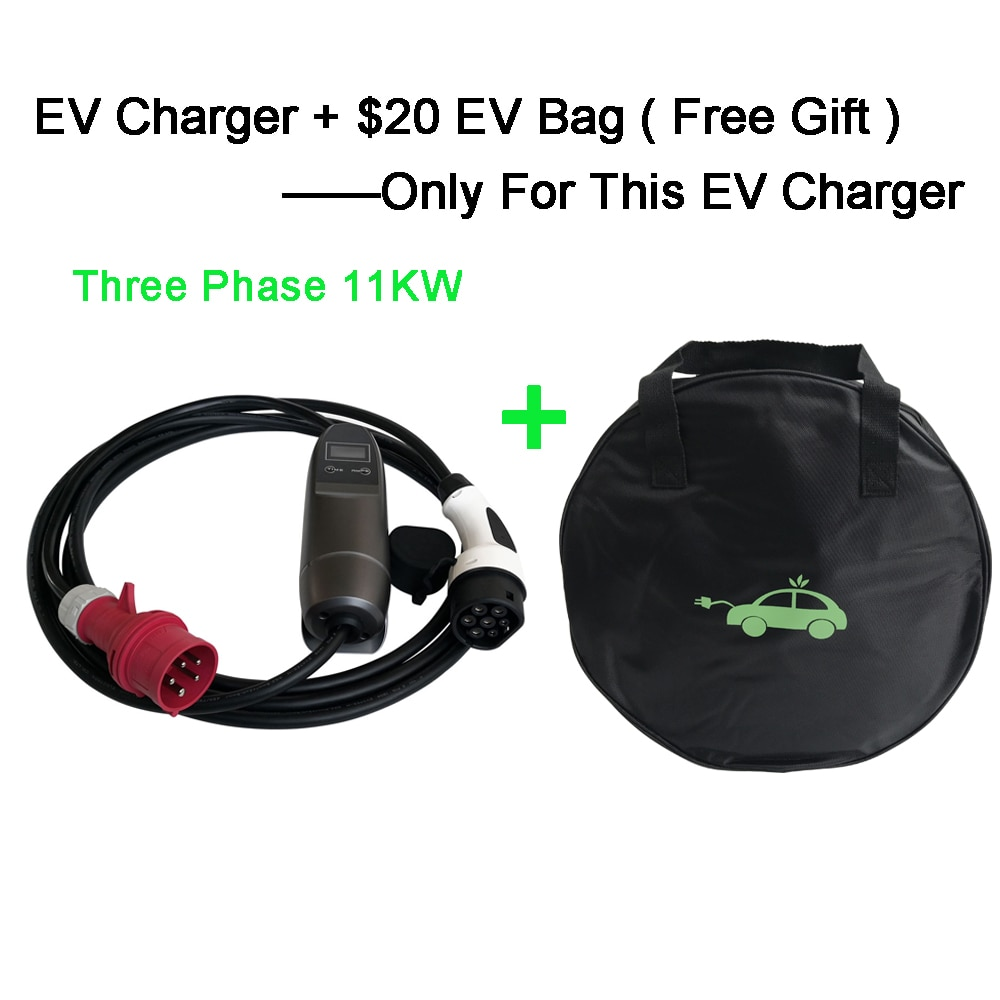 Khons 11KW 3 Phase EVSE Type 2 Electric Vehicle Car EV Charger With Red CEE Plug 16A Adjustable 16ft EV Cable Charging Connector enlarge