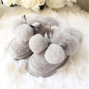 2020 Natural Sheepskin Fur Slippers Fashion Female Winter Slippers Women Warm Indoor Slippers Soft Wool Lady Home S