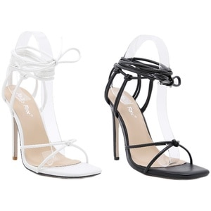 New Sexy Ankle Cross Strap Square Head Thin Heel High 11CM Women's Sandals Large Size 35-41 Women's Shoes