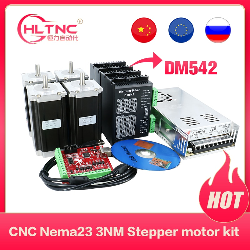 CNC Router electronic kit  4pcs DM542  driver+ 4pcs NEMA23 425ozin  DC motor +350W36V power supply +4axis mach3 motion card