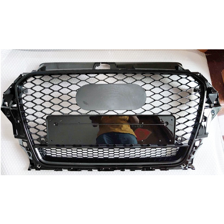شبكة شواء العسل لامعة سوداء لأودي A3/S3 8 فولت 2014 2015 2016 RS3 كواترو ستايل عرافة شبكة الجبهة الوفير هود مصبغة