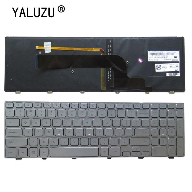 YALUZU جديد الولايات المتحدة لوحة مفاتيح الكمبيوتر المحمول الإنجليزية لديل انسبايرون 15 7537 7000 P36F لوحة المفاتيح مع الخلفية الفضة 15-7000 سلسلة