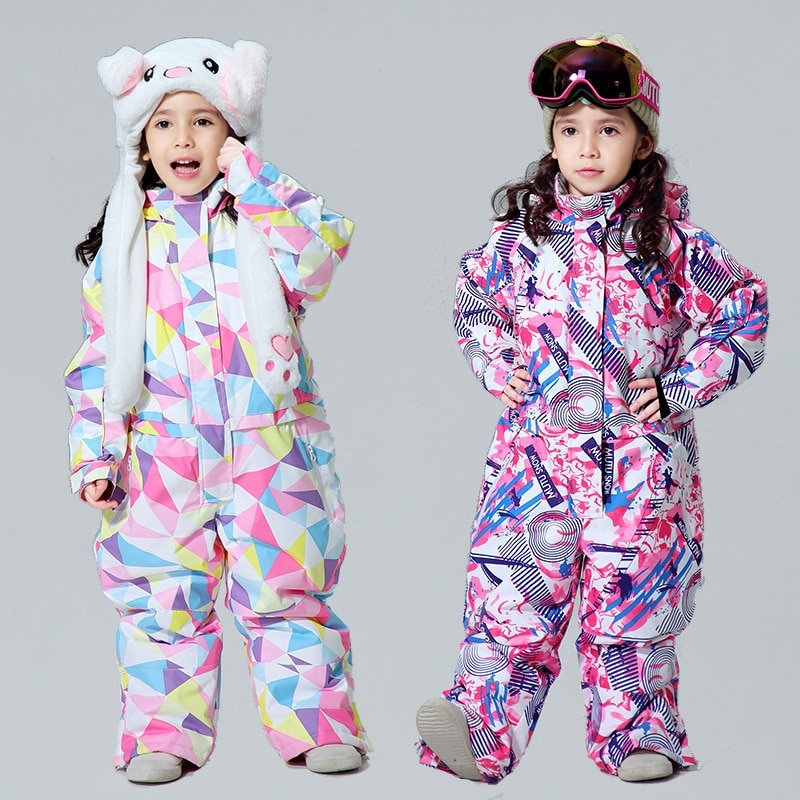 casaco infantil bebes girl snow clothes winter rompers hoodies roupa kids clothing one piece baby girls boys love pink suits 2020 Winter Girls One Piece Ski Suits Sports Overalls Snowboard Children Waterproof Kids Snow Jumpsuits Warm Hoodie Baby Clothes