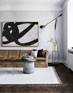 Original Abstract Art Canvas Painting Large Canvas Wall Art Decor Bedroom Wall Decor Black White Painting Home Decor Wall Art