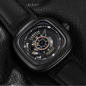 Reloj Automático deportivo militar CAROTIF 2020, Correa cuadrada de cuero para hombres, relojes mecánicos de la mejor marca, relojes automáticos Luxur