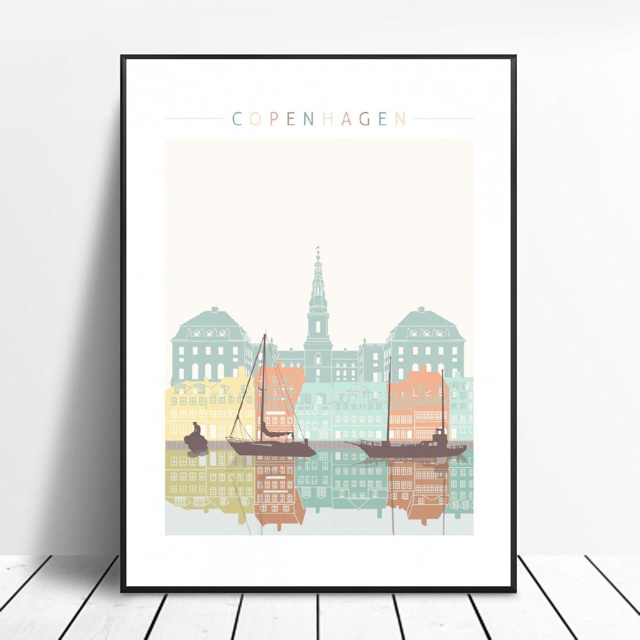 Copenhagen Skyline Canvas Print Wall Art Poster Picture Modern Minimalist Bedroom Living Room Decoration No Frame