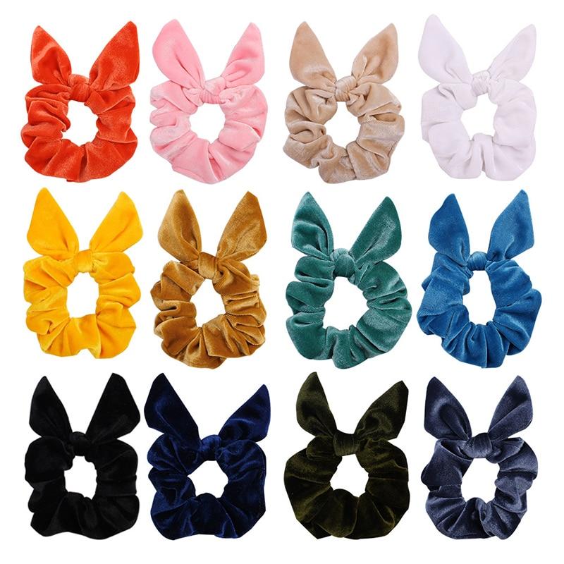Velvet Rabbit Ears Hair Ties Autumn Winter Knotted Bow  Hair Scrunchies Sweet Girls Ponytail Hair Holder Stretch Bunny Hairbands