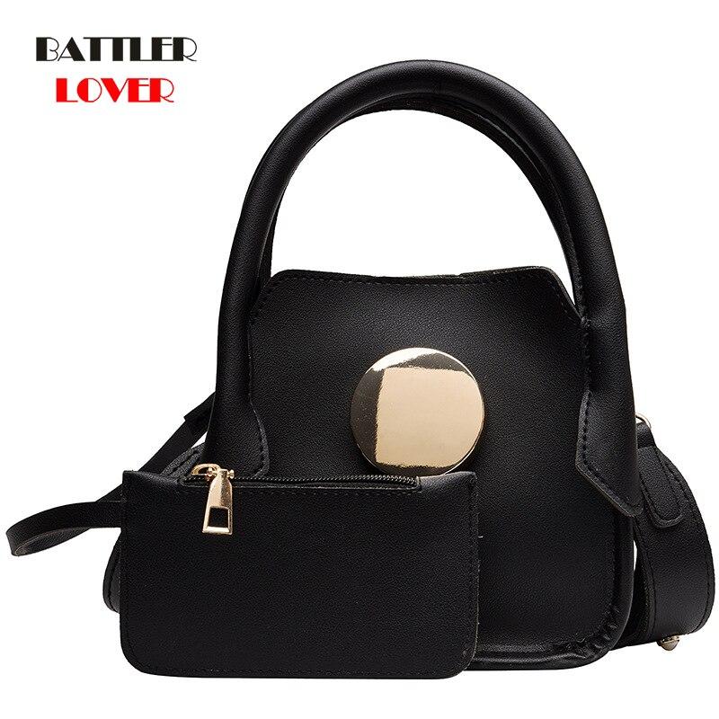 European Brand Designer Chain Motorcycle Bags Women 2 PCS Shoulder Bags Females Crossbody Messenger Bag Womens Leather Handbags