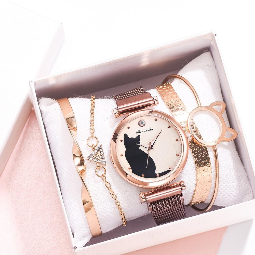 5pcs/set Women Watches Rose Gold Bracelet Set Cat Pattern Black Magnet Watch Ladies Bracelet Wrist Watches Luxury Quartz Clock
