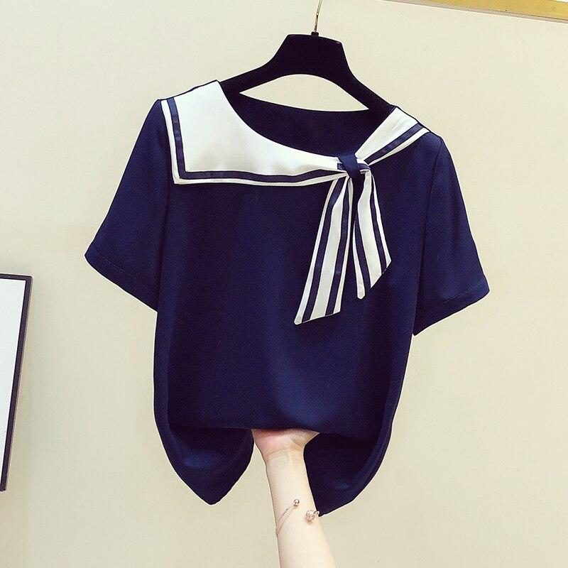 2021 летняя футболка с короткими рукавами для женщин полосатая рубашка в морском стиле, для девушек, шифоновая футболки блузки Blusas