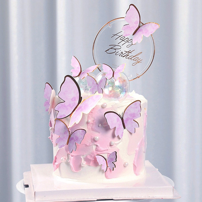 Практичный Топпер для торта, Фотокарта, ручная роспись, украшение для торта, Бабочка, Фотофон для торта на день рождения, принадлежности для ...