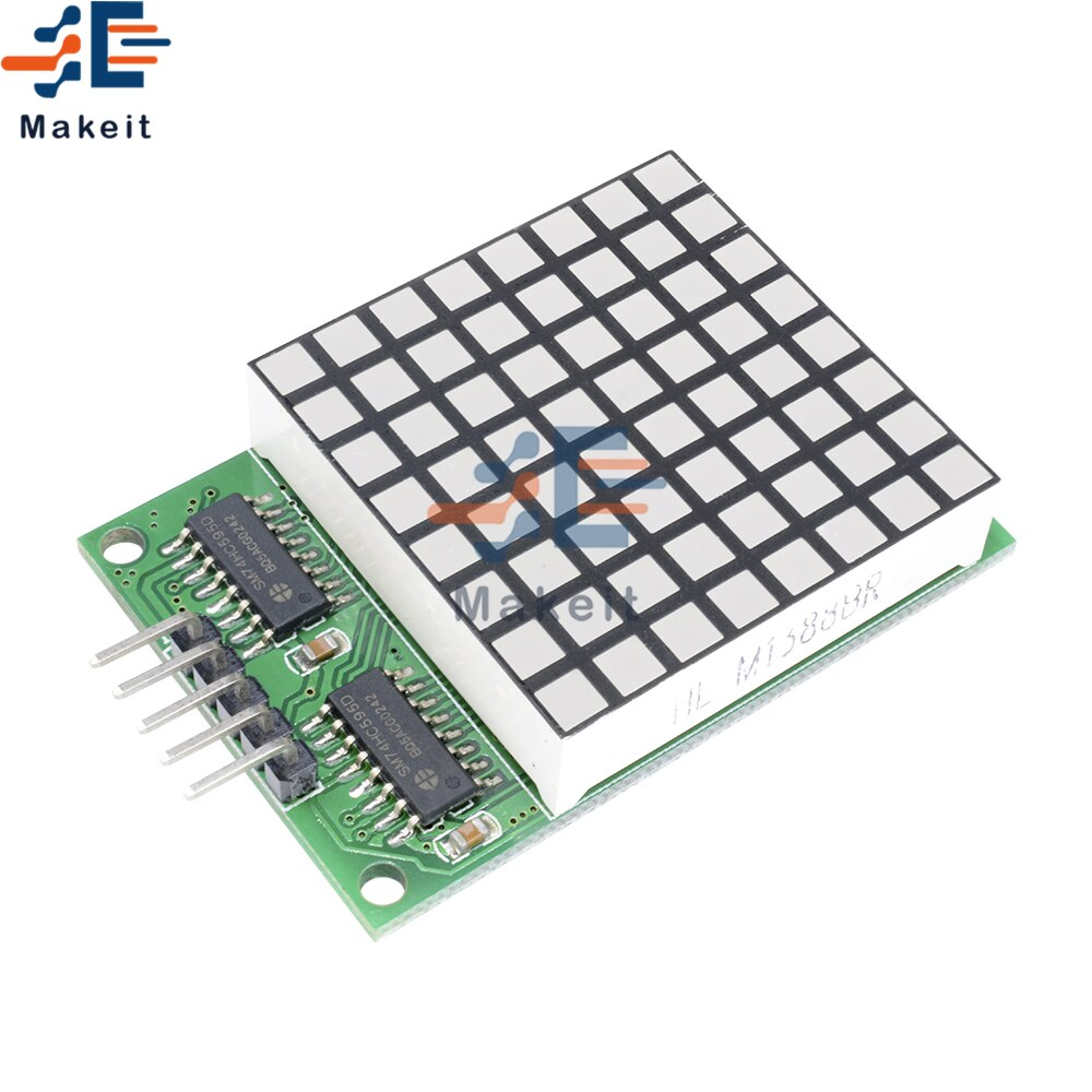 max7219 led microcontroller 4 in 1 display dot matrix module 5v operating voltage for arduino 8x8 dot matrix common 8x8 Square Matrix Red LED Display Dot Module 74HC595 Driver Module Red Pixels For Arduino UNO R3 MEGA2560 Raspberry Pi