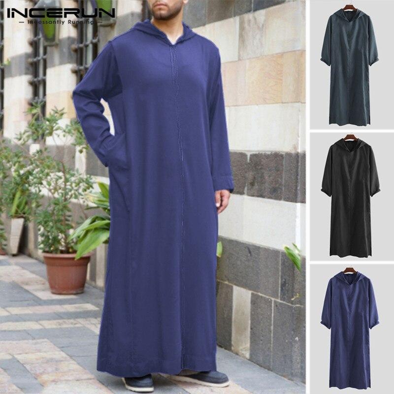 INCERUN hombres ropa musulmana de manga larga con capucha liso Arabia Saudita Dubai batas Vintage islámico Kaftan hombres Jubba Thobe talla grande