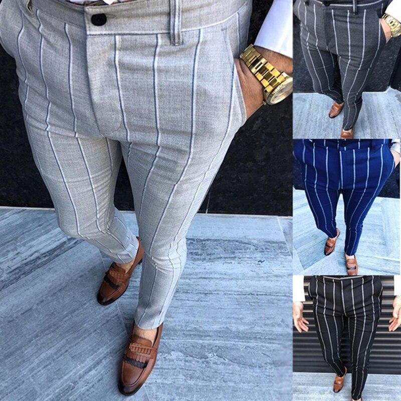 Мужские облегающие брюки чинос, серые модные брюки в клетку с полосками, повседневные однотонные брюки 2021