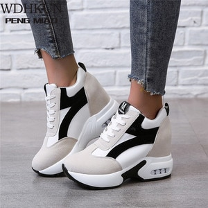 Platform Sneakers Shoes Red Black Casual Shoes Women Sneakers Ladies Platform Sneakers Heels Wedge Shoes Zapatillas Mujer 2020