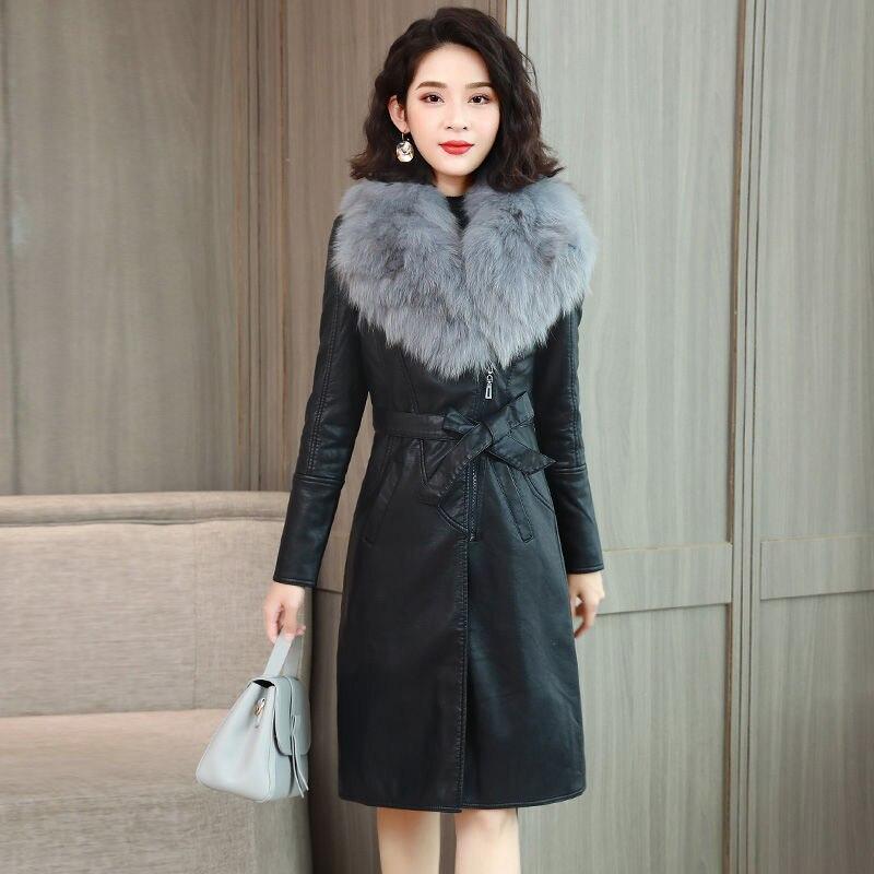 كبير الفراء طوق الخريف الشتاء سترة جلدية المرأة زائد المخملية سميكة منتصف طول القسم 2021New بولي Suit دعوى طوق معطف الإناث L715