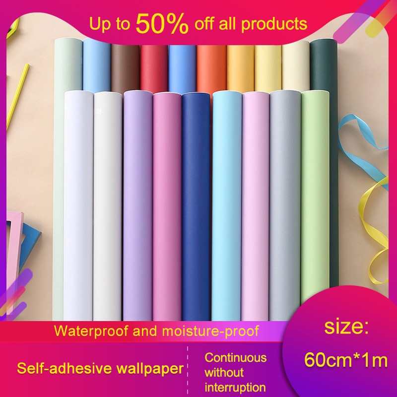 Solid Color PVC Waterproof Self adhesive Wallpaper 1m for Living Room Kids Bedroom Decor Vinyl Contact Paper for Kitchen Cabinet pvc vinyl kitchen cabinet lh pv077