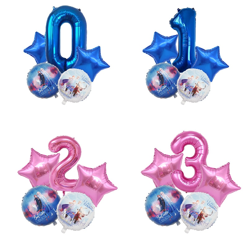 5Pcs Ice Snow Queen Elsa Balloon Princess Foil Balloons Happy Birthday Party Baby Shower Decorations Kids Gifts Toys Globos