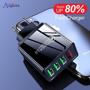Быстрая зарядка 3,0 светодиодный дисплей 3 USB зарядное устройство 3 А Быстрая зарядка для iPhone 11 зарядное устройство адаптер для Samsung S10