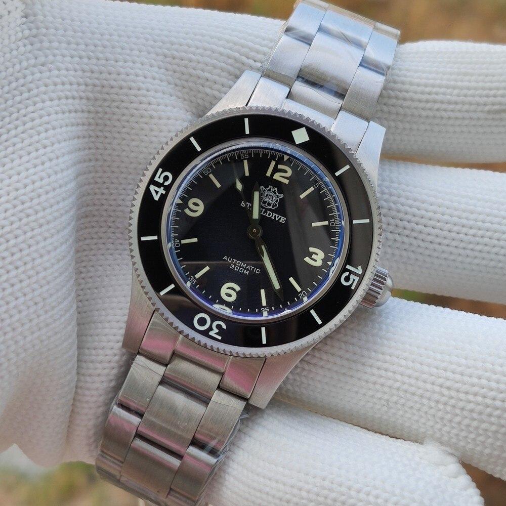 ساعة يد رجالي من steeldave طراز SD1952 جديدة سوار فولاذي 41 مللي متر NH35 ساعة غواص أوتوماتيكية 300 متر مقاومة للماء من السيراميك ومزودة بزجاج الياقوت