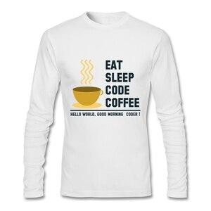 Simply Fashion Clothes Eat Sleep Code Coffee T Shirt Long Sleeve Custom Men's T-shirts Top Random O-neck Cotton Man Tee Shirt