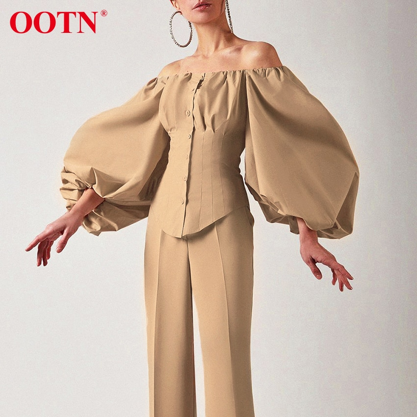 OOTN Sexy Slim Off Shoulder Women Shirt Blouses Lantern Sleeve Tunic Female Top Laides Shirt Pleated Elegant White Blouse Button white pleated design off shoulder crop top