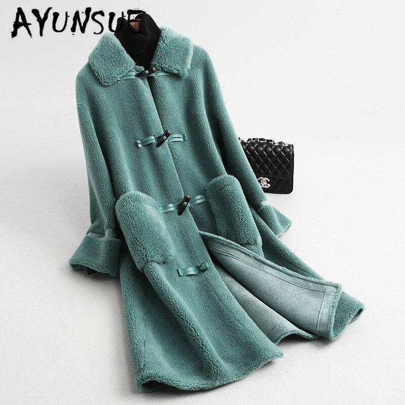AYUNSUE Real Fur Coat Women 2020 New Sheep Shearing Winter Coat Women Korean Vintage Wool Jacket Manteau Femme KQN59326 YY1585