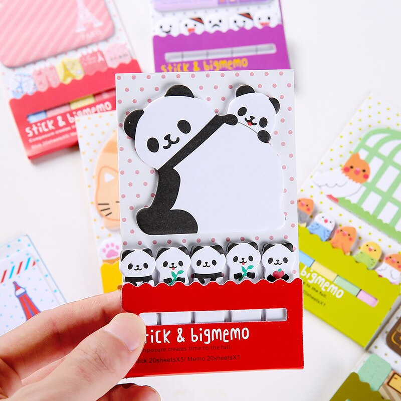 4pcs Cute Cartoon Sticky Note Panda Cat Bird Ghost Travel Paris Adhesive Memo Pad Planner Diary Stickers Office School A6413