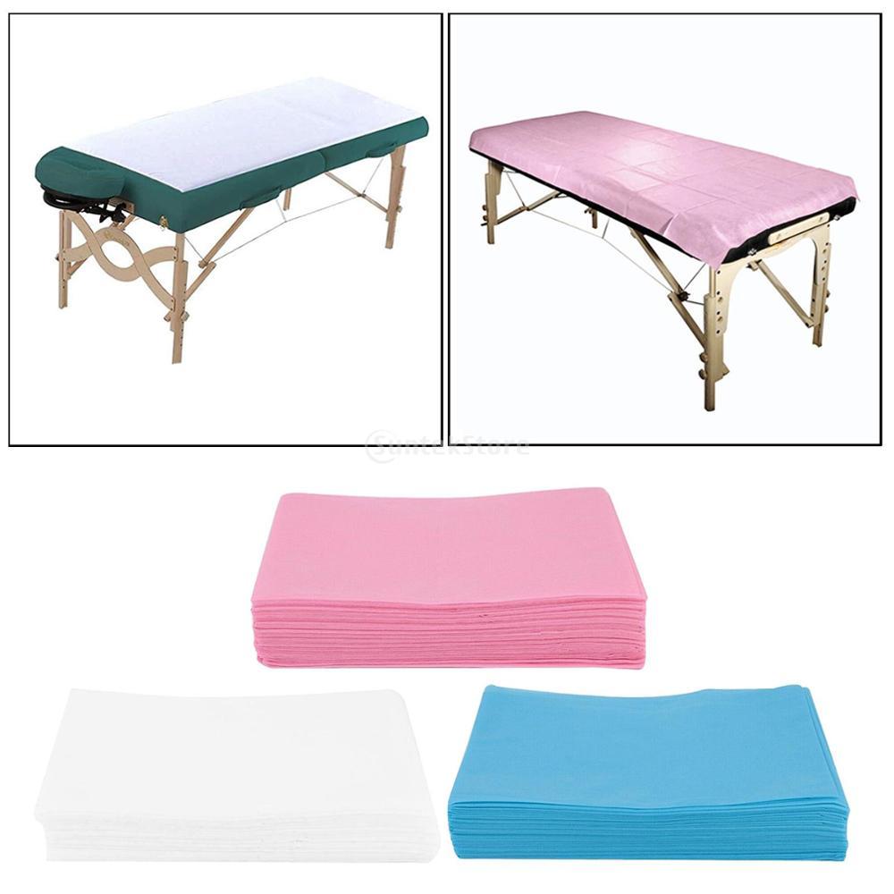 As folhas descartáveis da cama 10pcsnon-tecidas perfuraram as tampas da tabela da massagem para a proteção da almofada da cama da tatuagem cobrem 80x180cm azul