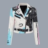 new fall winter 2021 rivet jackets coats women punk motorcycle letter graffiti printed zipper pu leather jacket white