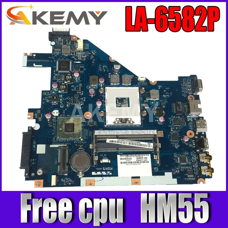 Akemy PEW71 LA-6582P MBR4L02001 MB.R4L02.001 placa principal para acer aspire 5742 placa base para ordenador portátil MBRJW02001 HM55 cpu libre