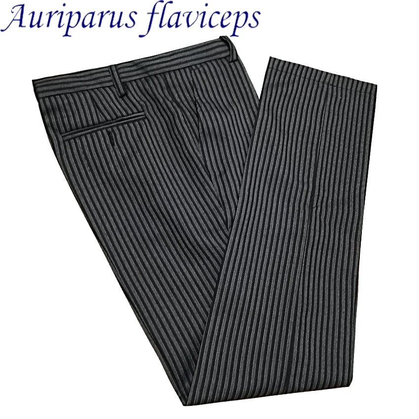 Auriparus flaviceps a medida Pinstrip pantalón Formal boda hombre traje pantalones Pinstrip Pantalones Casual marca pantalones de vestir