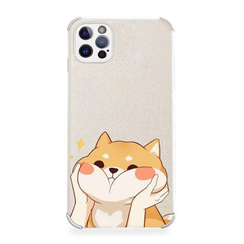 Cute cartoon corgi dog Phone Case Lambskin LeatherFor iphone 12 11 8 7 6 XR X XS PLUS MINI PLUS PRO MAX Shockproof