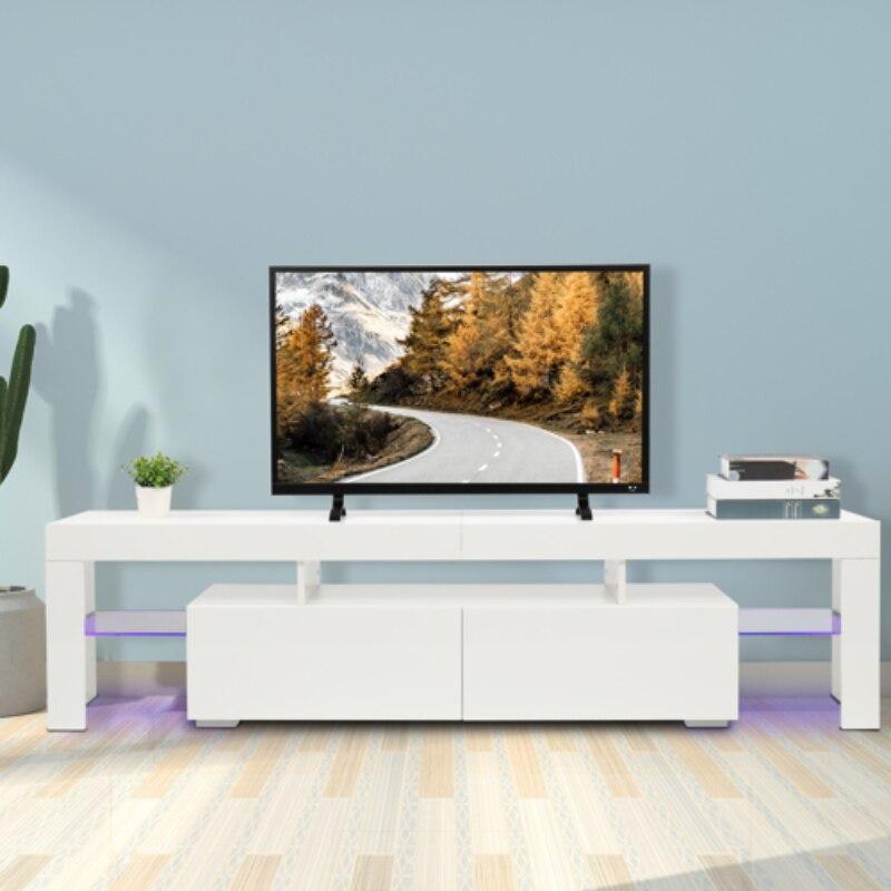حامل خزانة التلفزيون مع مصباح ليد (الضوء الأرجواني) 180x35x45 سنتيمتر ديكور منزلي أنيق أبيض [US-Stock]