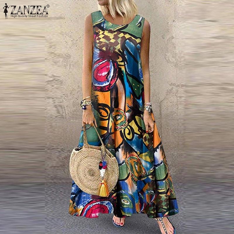 AliExpress - ZANZEA Summer Dress Women Bohemian Sleeveless Floral Printed Sundress Robe Vintage Kaftan Beach Vestido Femme Sarafans Plus Size