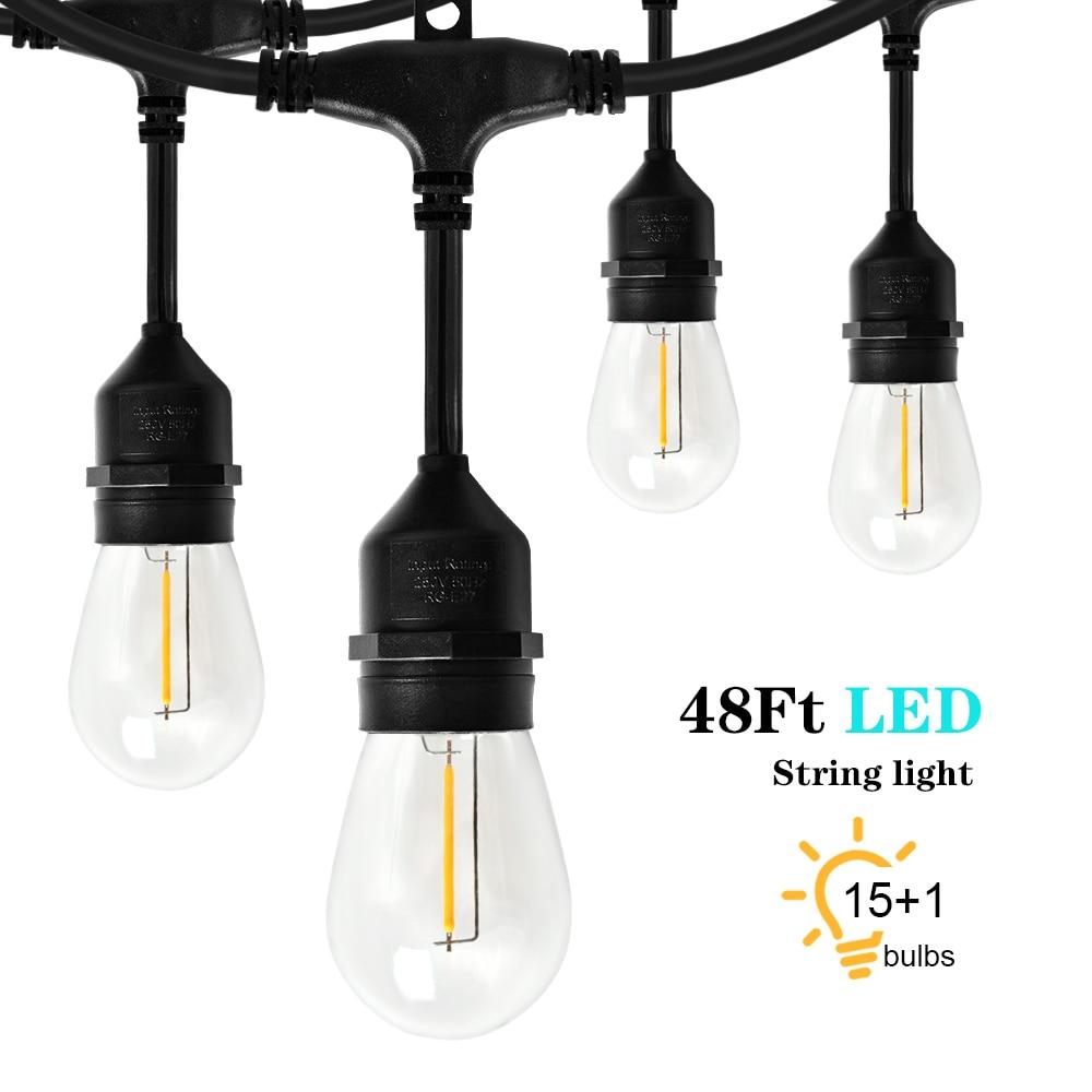 Светодиодный S14 строка светильник уличный IP65 15 м 15 лампы 48Ft 1 Вт Светодиодный лампа накаливания Эдисона лампа для сада патио праздничное сва...