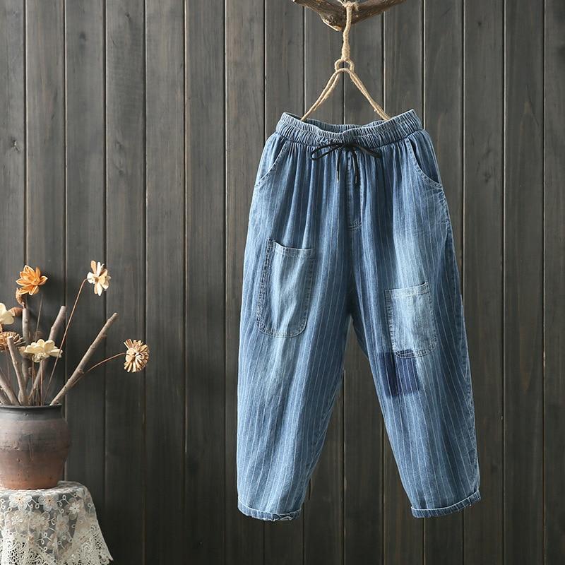 Johnature Calf-length Pants Elastic Waist Loose Jeans Harem Pants Casual Pockets 2021 New Summer Striped Women Jeans