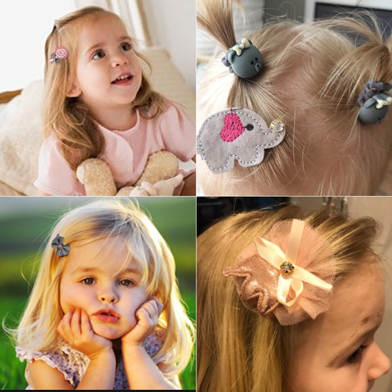 8 pcs set klip rambut, tali rambut gadis comel, aksesori rambut busur - Aksesori pakaian - Foto 2