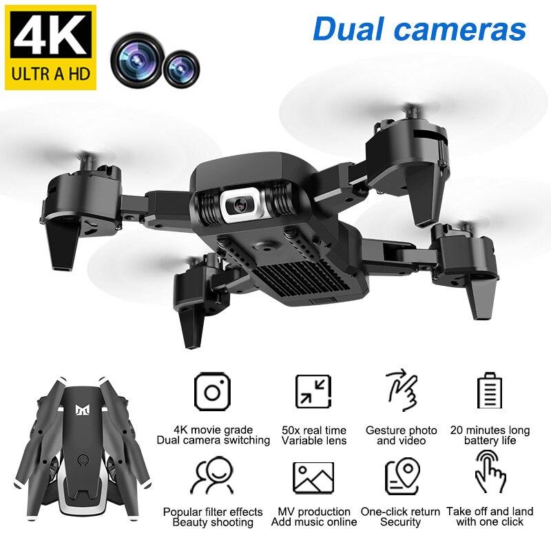 AZMA KK6 2,4G RC Drone Wifi FPV 4K Cámara Dual de HD flujo óptico RC Quadcopter plegable Follow Me Cámara gran angular mini drone RTF