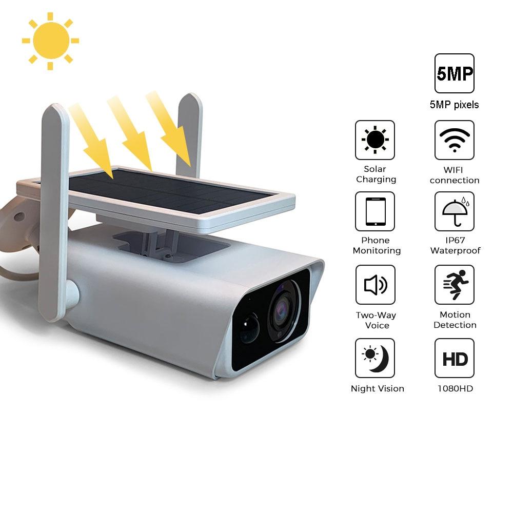 Solar cell IP Camera Wifi Solar Panel Battery Powered 1080P Wireless Outdoor Vedio Surveillance Camera WaterProof Two Way Audio