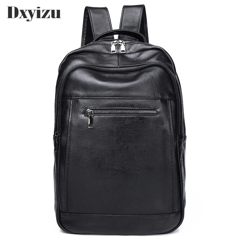 حقيبة ظهر من جلد البقر الطبيعي للرجال 100% ، حقيبة ظهر عصرية ذات سعة كبيرة ، حقيبة كمبيوتر محمول من الجلد الطبيعي للأولاد