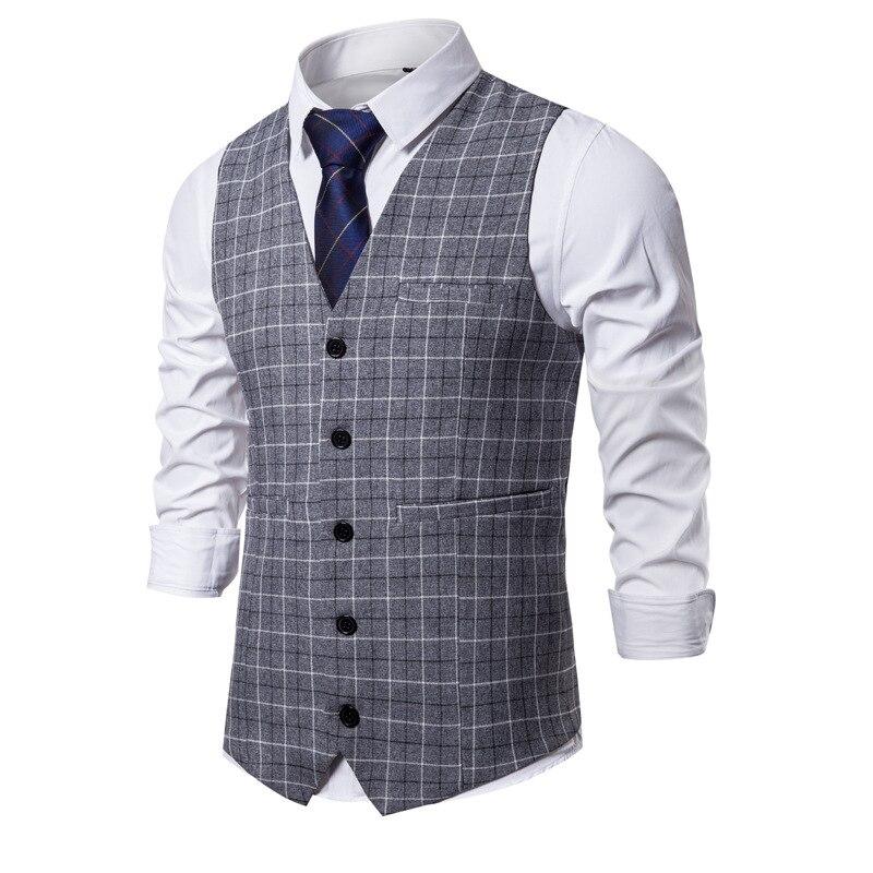 4 цвета, мужские деловые повседневные облегающие жилеты, модные мужские клетчатые жилеты с одной пуговицей, мужской костюм для мужчин, весна...