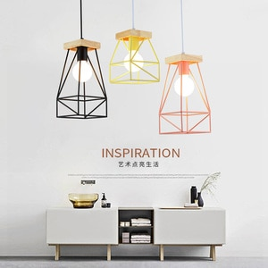 Nordic Indoor Cage Wood Led Pendant Lamps Fixture Modern Colorful Bedroom Kitchen Living Room Hanging Lights Home Decoration E27