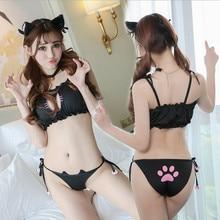 Dessin animé Lolita Costumes mignon Katze uniformes ensemble cloche col + sous-vêtements + soutien-gorge + écouteurs filles chat Unirofms