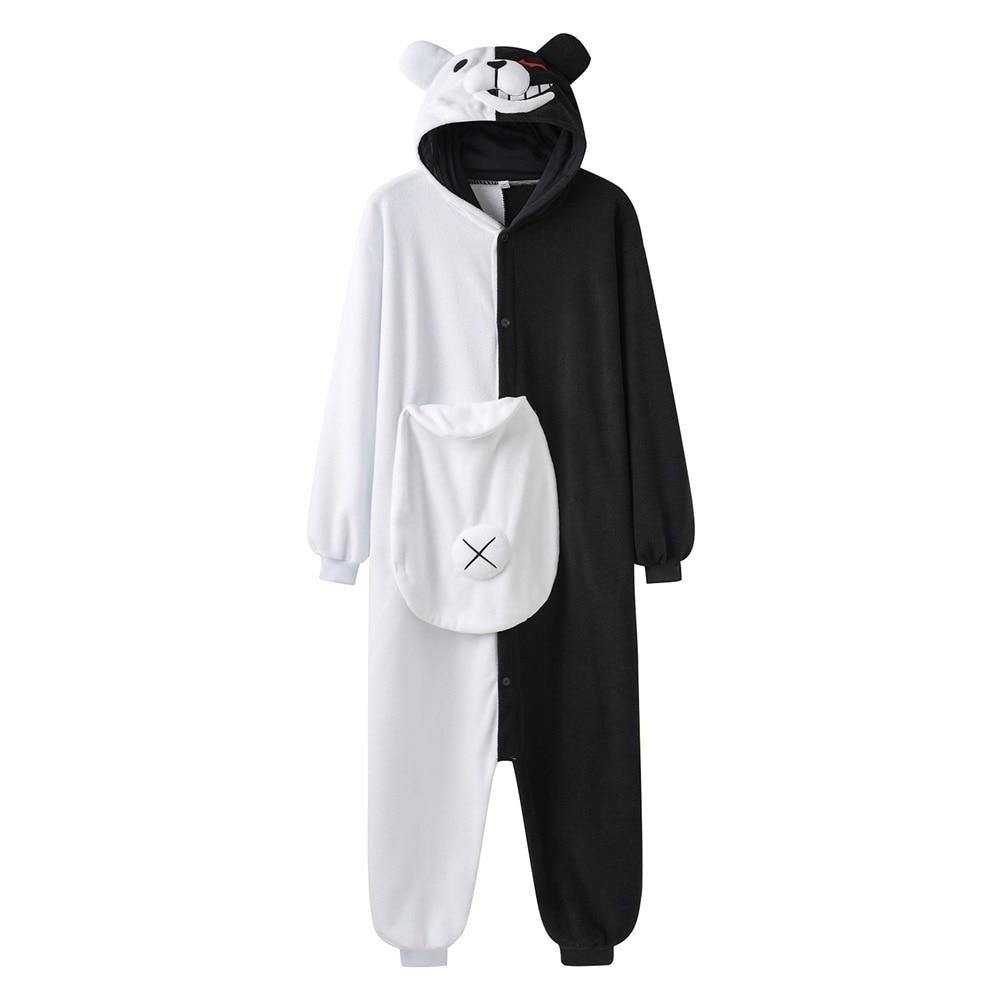 Monokuma Kigurumis Pajama Adult Onesie Anime Bear Jumpsuit Black White Animal Pajamas Women Halloween Party Suit Overall