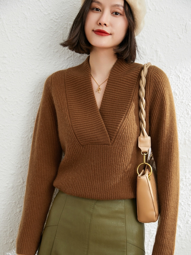 V-Neck Lady Pullovers 2021 Thick Large Women's Wear New Fashion  100% Goat Cashmere Girls Sweaters Knitted Jumpers Knitwear Tops enlarge